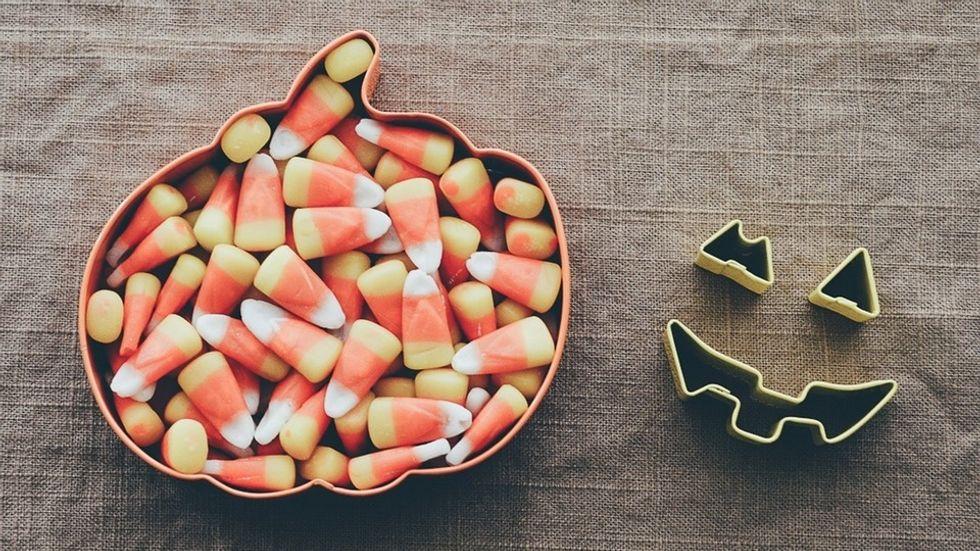 candy corn in a cookie cutter