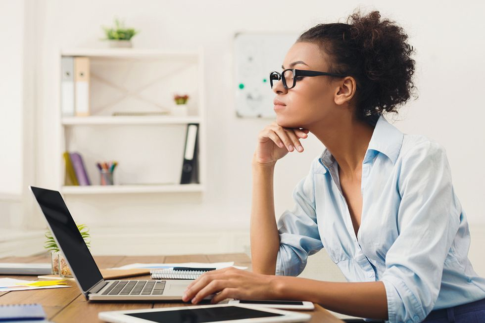 Professional woman creating her career development plan