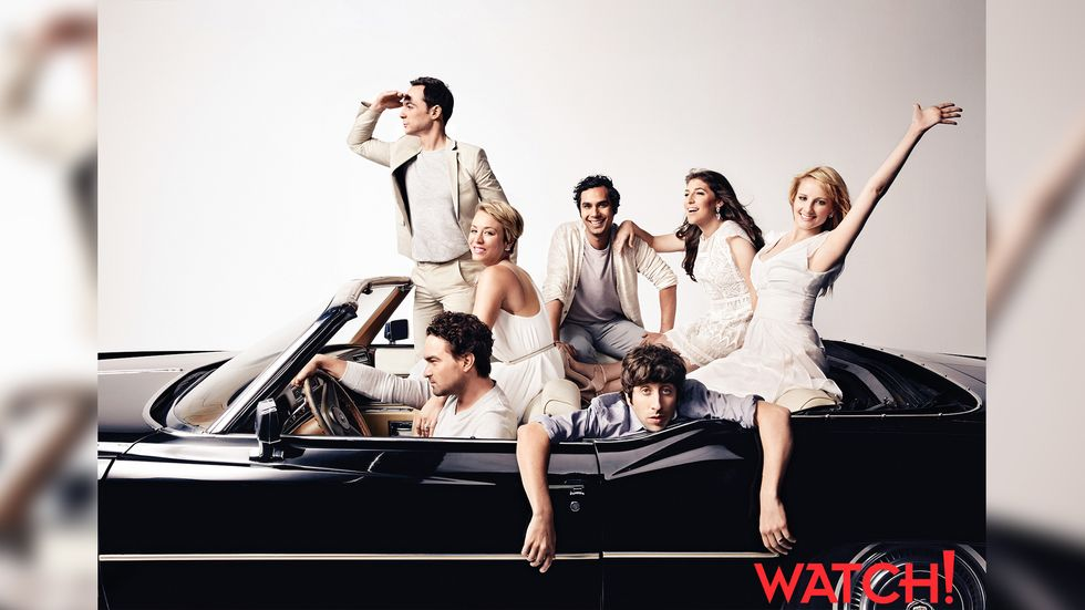 The Cast of The Big Bang Theory in a car