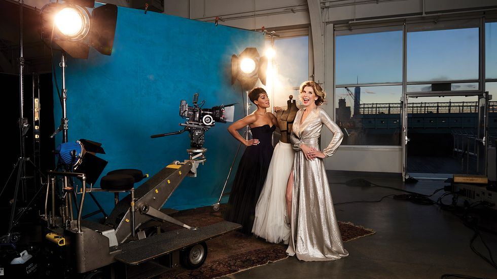 The Good Fight's Cush Jumbo and Christine Baranski dressed up and on set