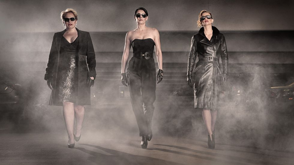 Kirsten Vangsness, Paget Brewster, and A.J. Cook in leather and sunglasses
