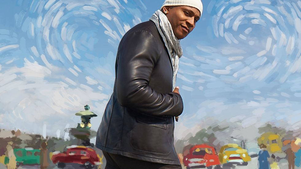 LL COOL J in front of a painted background of cars