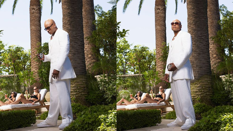 Side by side images of LL COOL J in a white suit outside with women in black bikinis in the background
