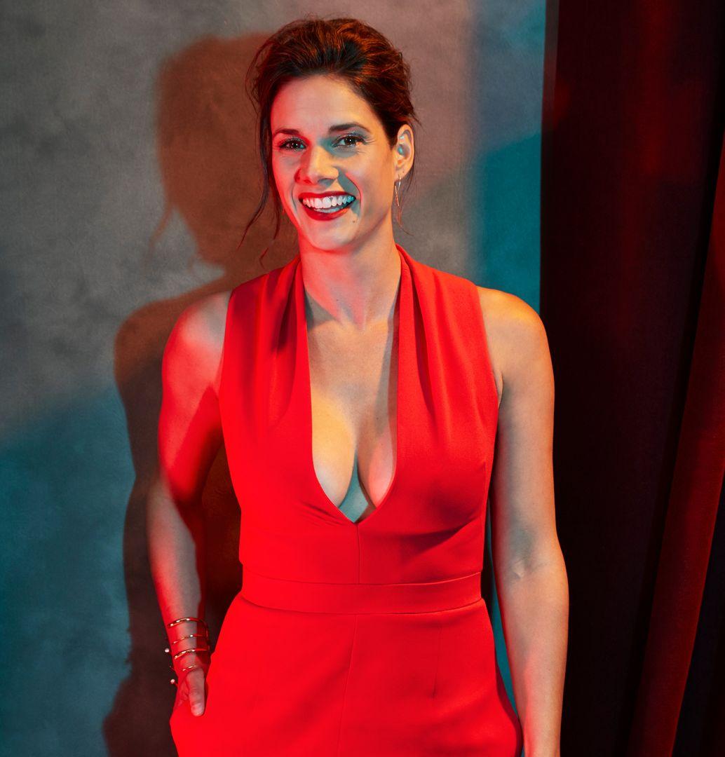 Missy Peregrym in a red dress