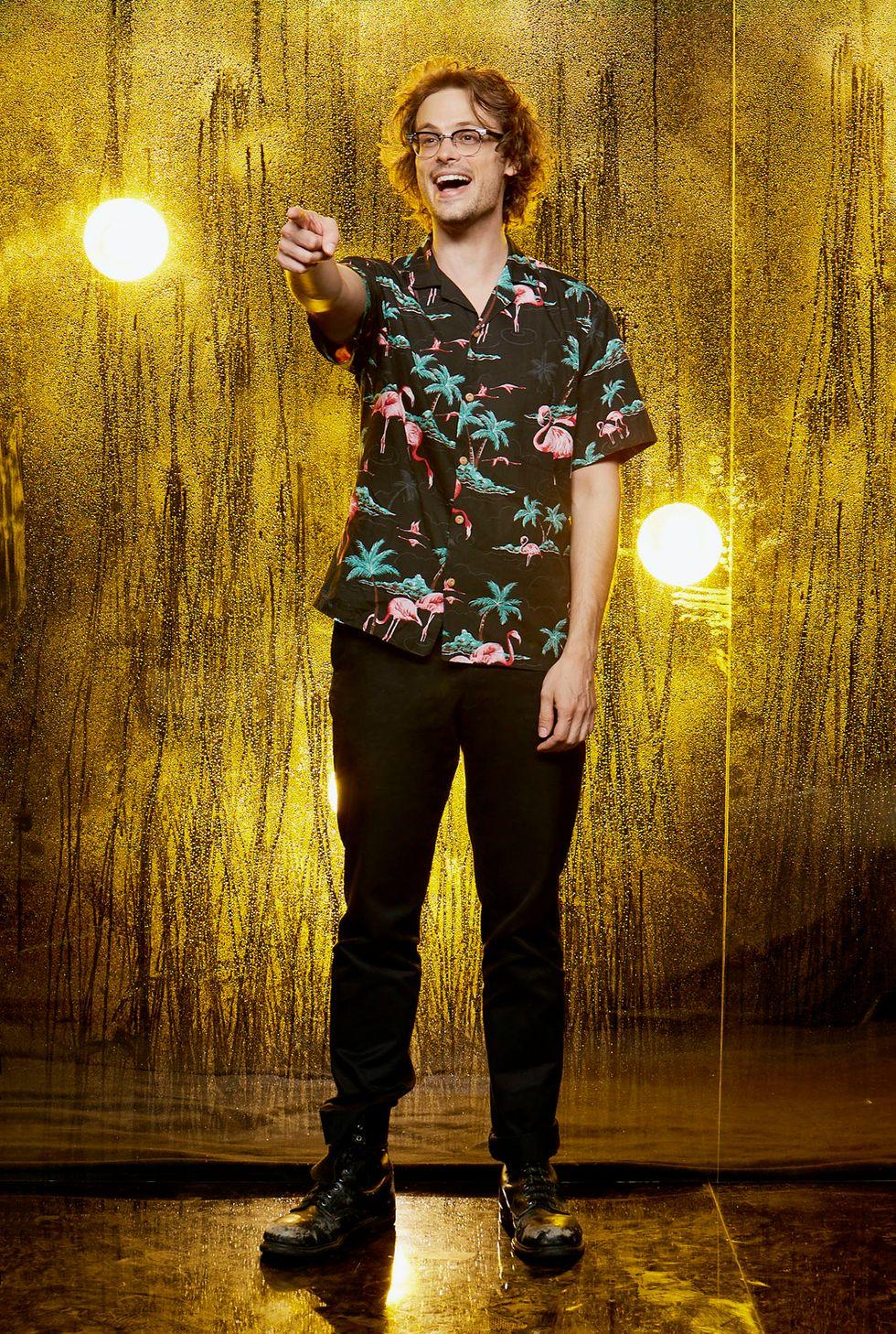 Matthew Gray Gubler of Criminal Minds in Hawaiian shirt and glasses