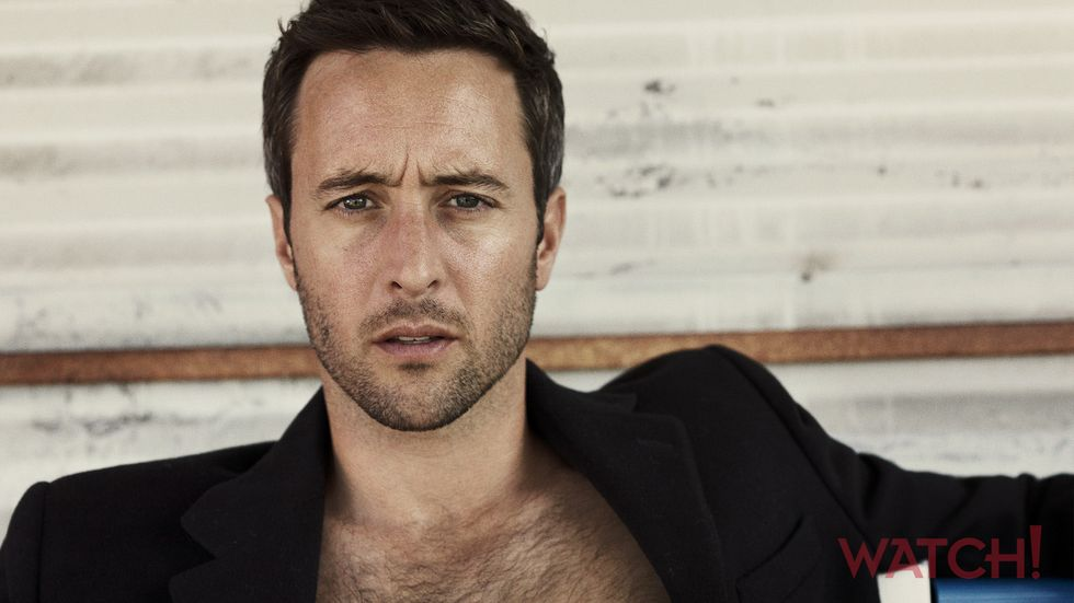 Alex OLoughlin of Hawaii Five 0 in black jacket with chest hair showing