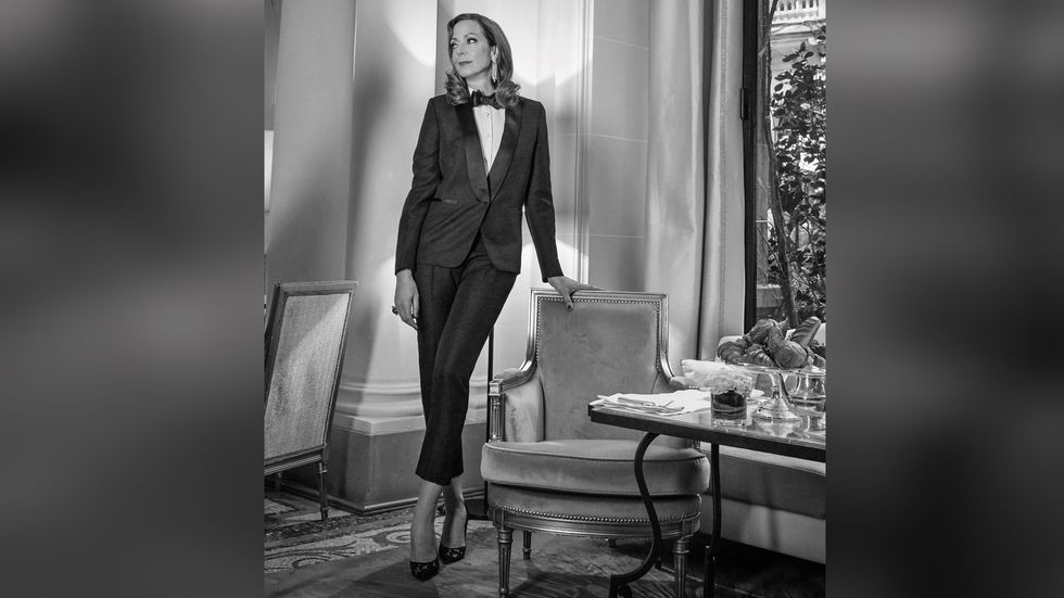 Allison Janney of Mom in tuxedo and high heels
