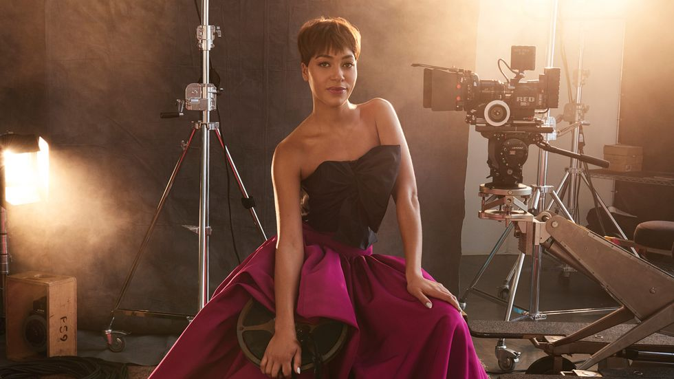 Cush Jumbo of The Good Fight in black and hot pink ballgown