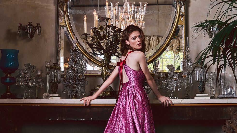 Rose Leslie of The Good Fight in pink brocade gown