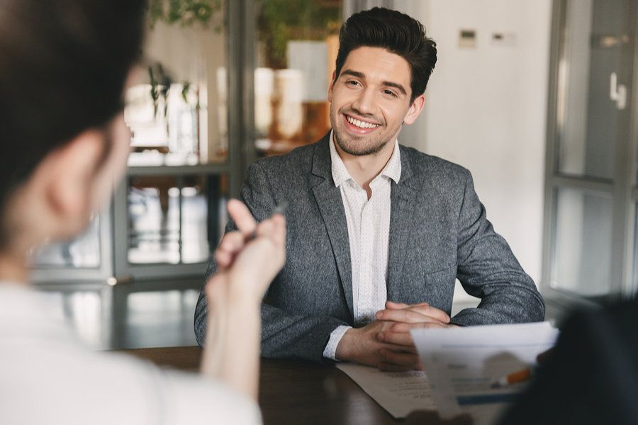 Man is confident during an interview after visualizing his success
