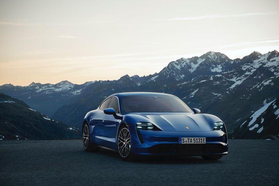 Blue Porsche Taycan Turbo