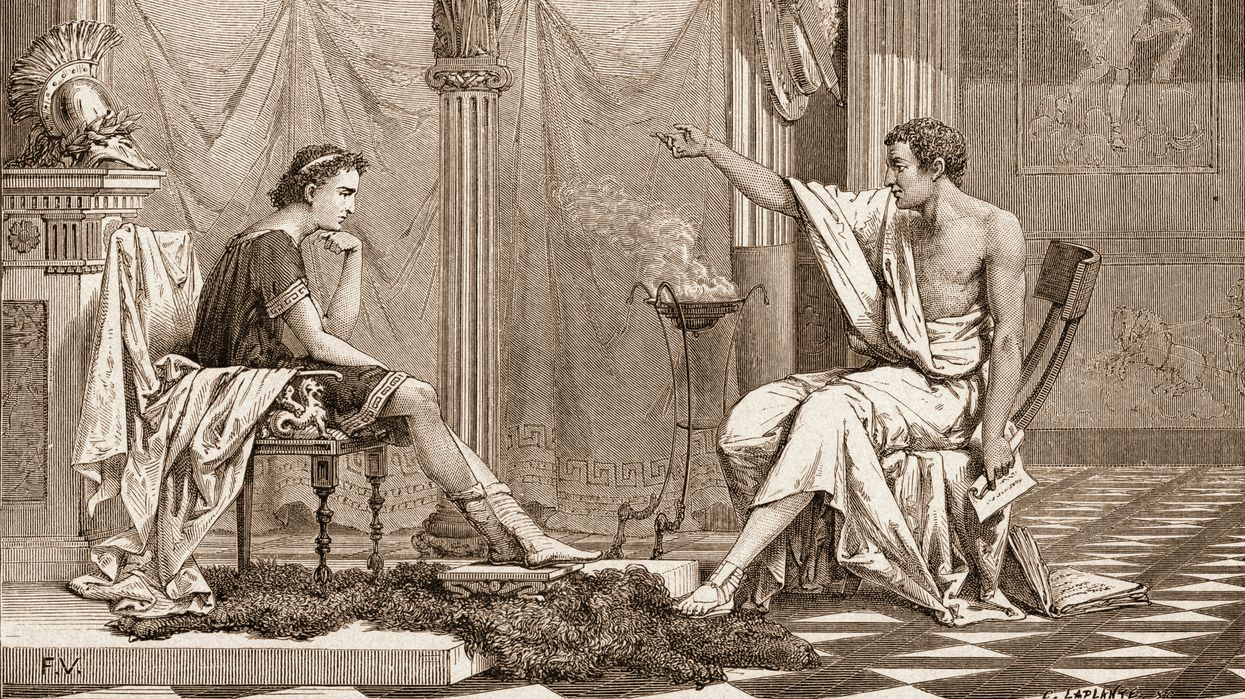 Alexander the Great as a youth listening to his tutor Aristotle power of persuasion