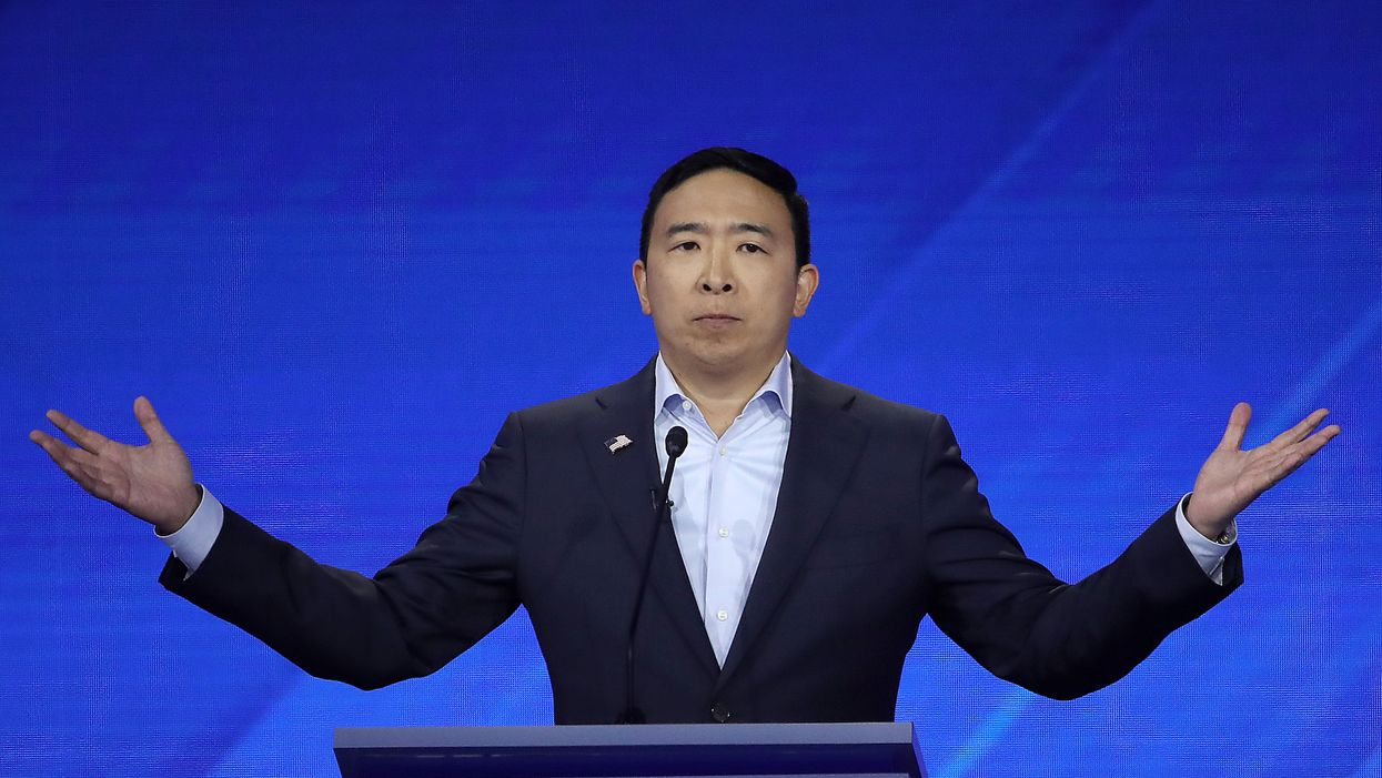 Andrew Yang does what no other presidential candidate has ever done at Democratic debate — but it could be illegal