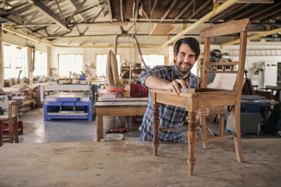 Man satisfied with his job in the trades