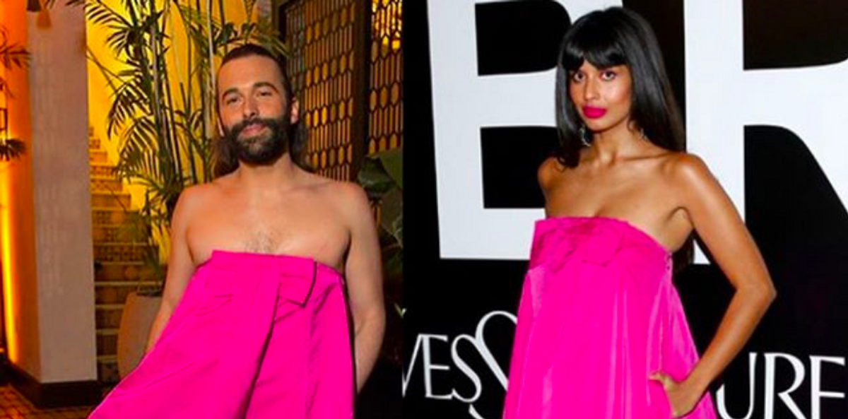 Jameela Jamil And Jonathan Van Ness Had The Best Reactions To Wearing The Same Dress