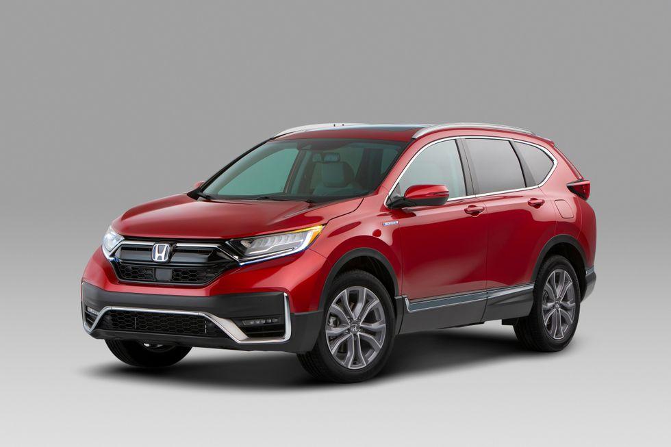 2020 Honda CR-V Hybrid exterior red face front wheels grille mirrors lights LED