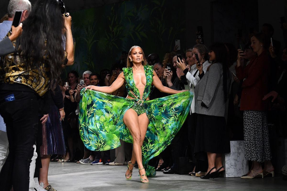 J. Lo Closed Versace Show in Iconic Jungle Print Dress