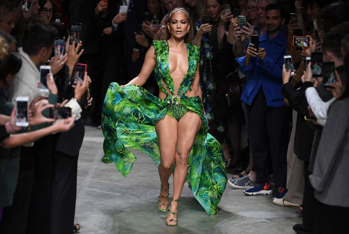 J Lo Closed Out The Versace Runway Show Wearing *That* Iconic Dress