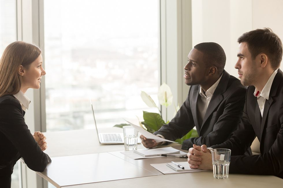 Job candidate realizing interview isn't going well
