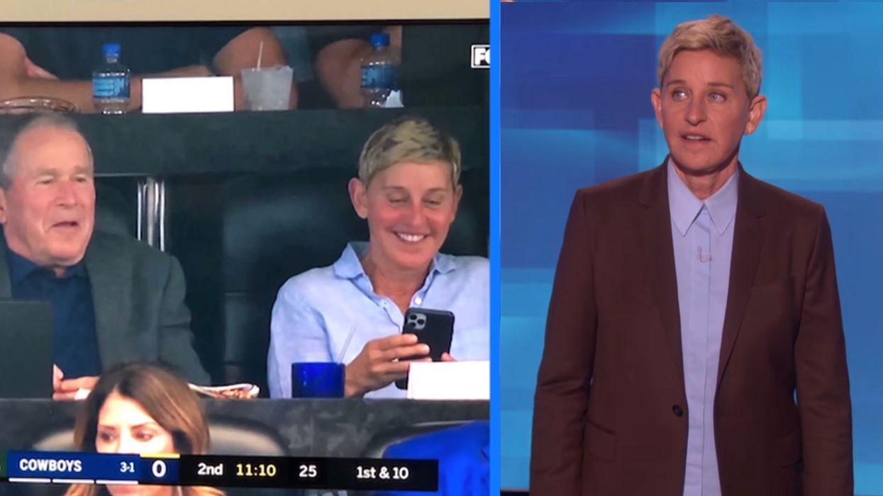 Ellen DeGeneres responds to social media outrage over her sitting next to George W. Bush at an NFL game