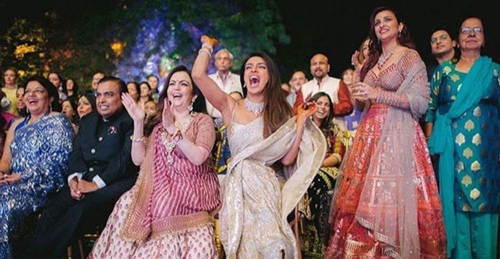 See Priyanka Chopra's Sequin Sari at Her Pre-Wedding Sangeet Party