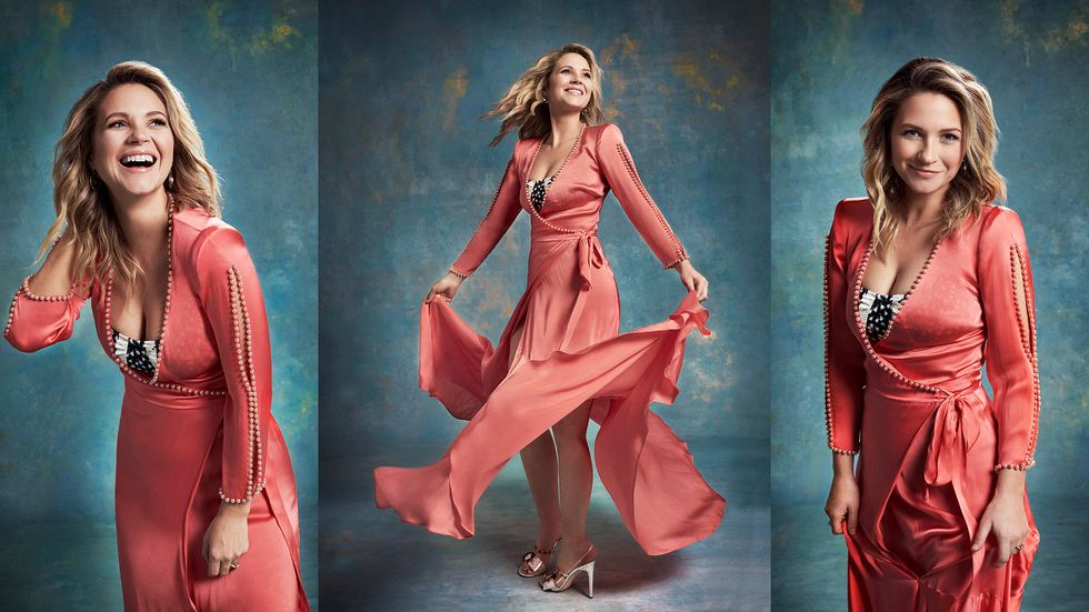 Vanessa Ray in flowy pink wrap dress