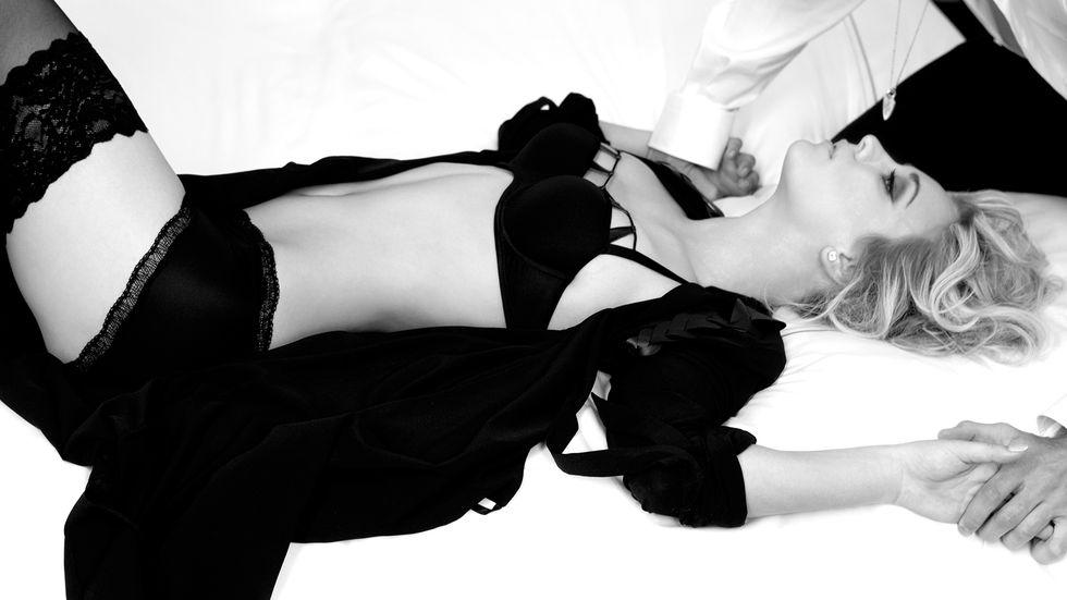 Kaley Cuoco in black lingerie