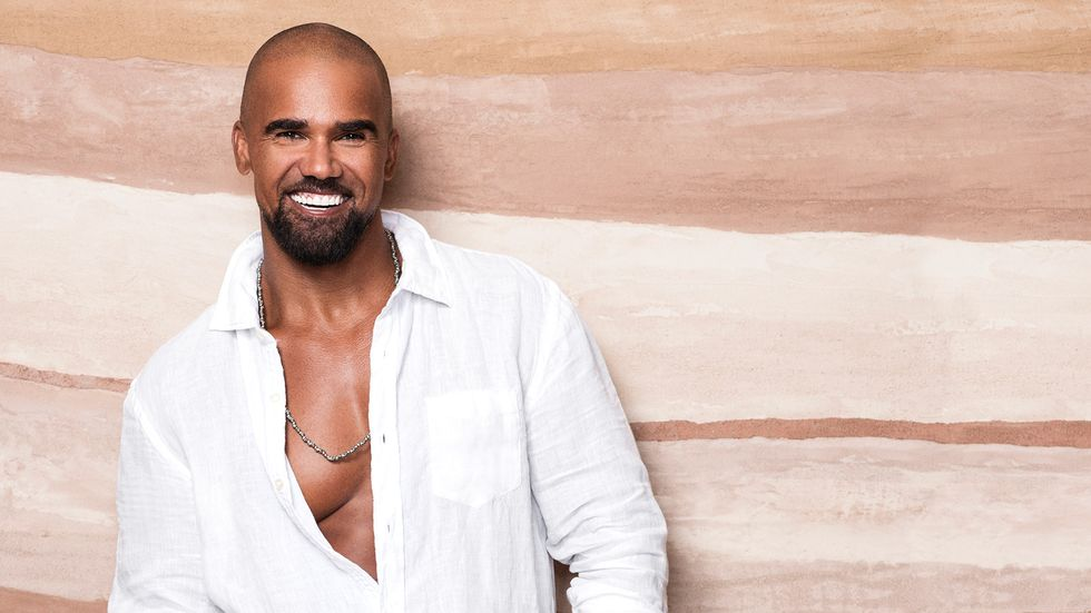 Shemar Moore in white button down shirt