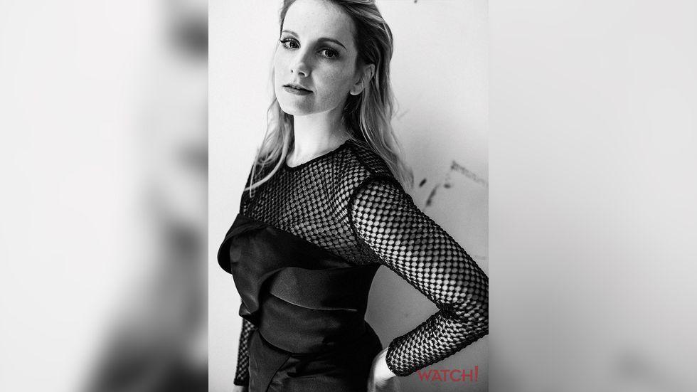 Melissa Rauch in black mesh dress