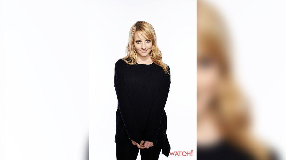 Melissa Rauch wearing a black sweater