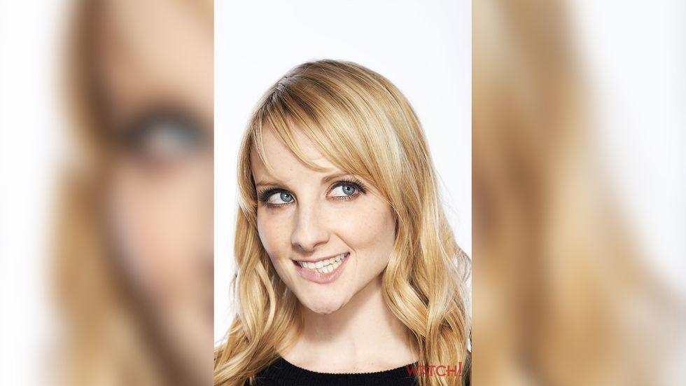 Melissa Rauch beautiful smile big blue eyes long blonde hair