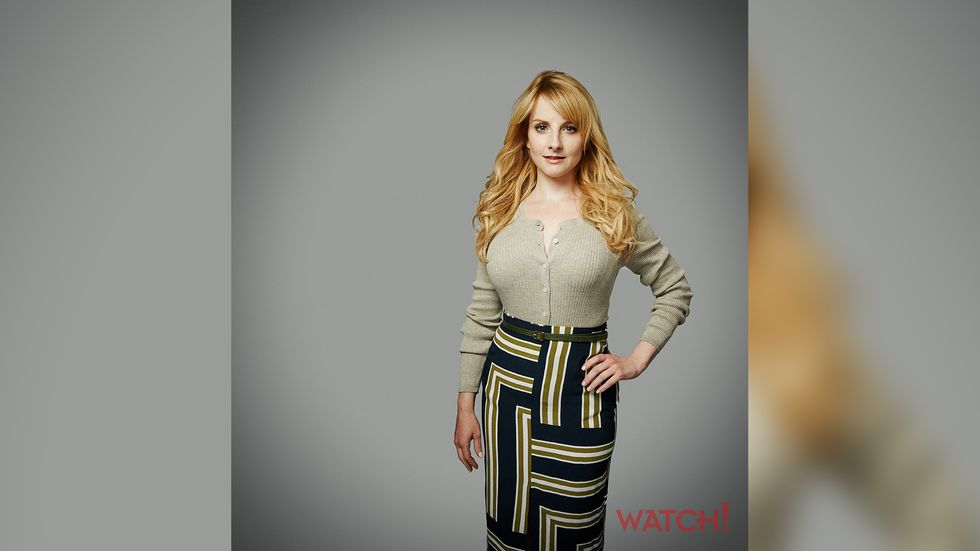Melissa Rauch wearing vintage skirt with geometric pattern