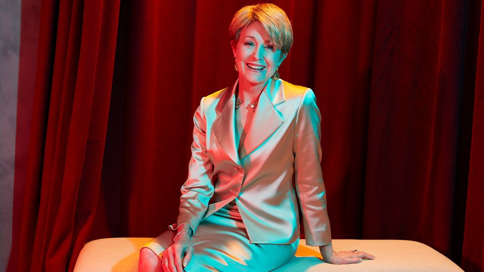 Jane Pauley of CBS Sunday Morning in silver suit