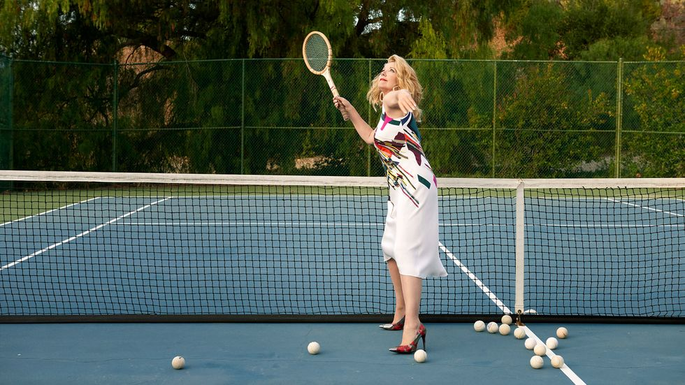 Melody Thomas Scott of The Young and the Restless playing tennis in high heels