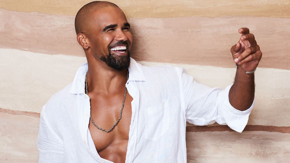 Shemar Moore of SWAT in open white shirt