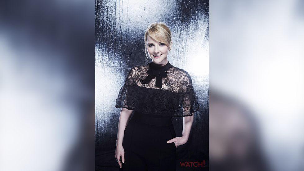 Melissa Rauch black lace dress