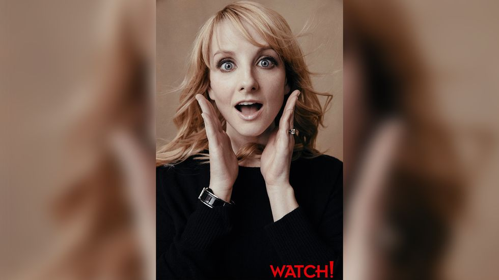 Melissa Rauch looking into camera with look of surprise