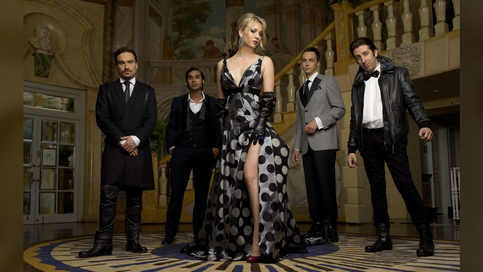 Big Bang Theory cast in black white and gray formalwear