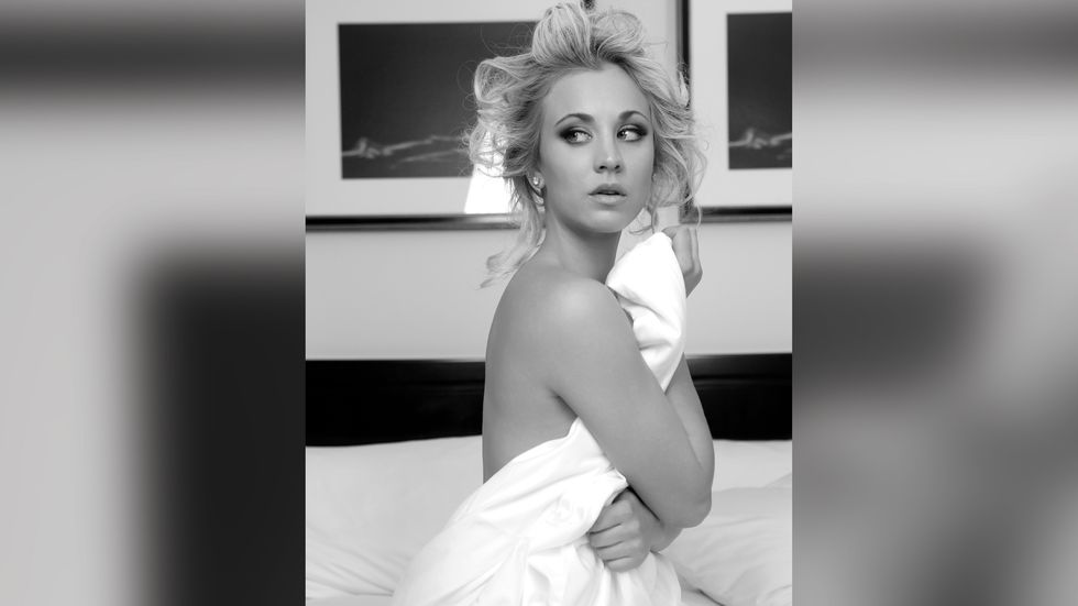 Kaley Cuoco of The Big Bang Theory wrapped in a white sheet