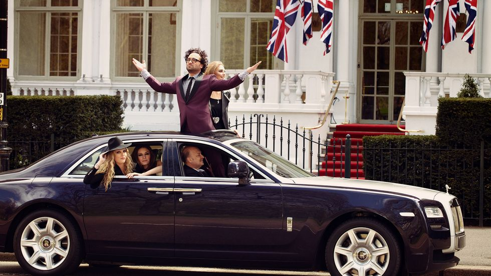 Johnny Galecki of The Big Bang Theory in a moon roof in London