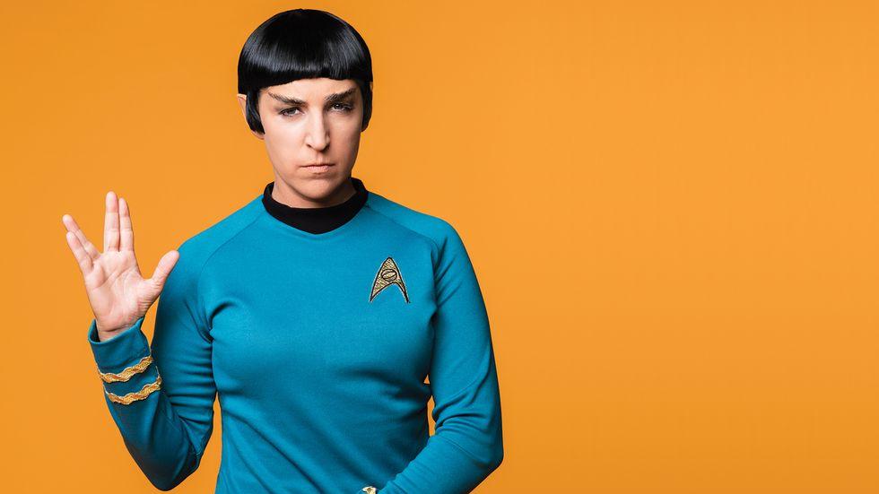 Mayim Bialik of The Big Bang Theory as Spock from Star Trek