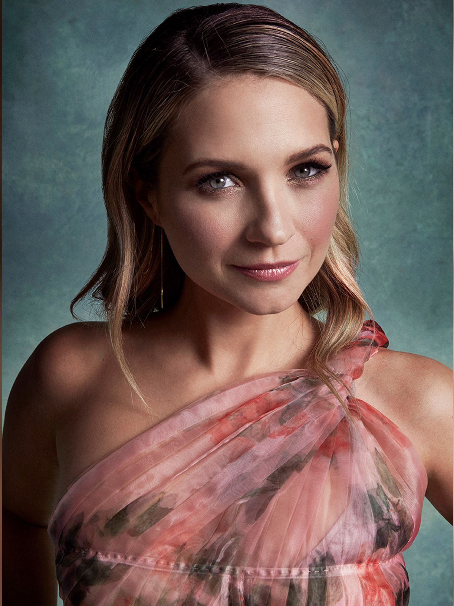 Vanessa Ray natural makeup pink floral dress