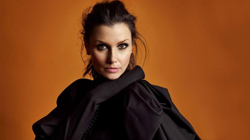 Bridget Moynahan smokey eye black blouse