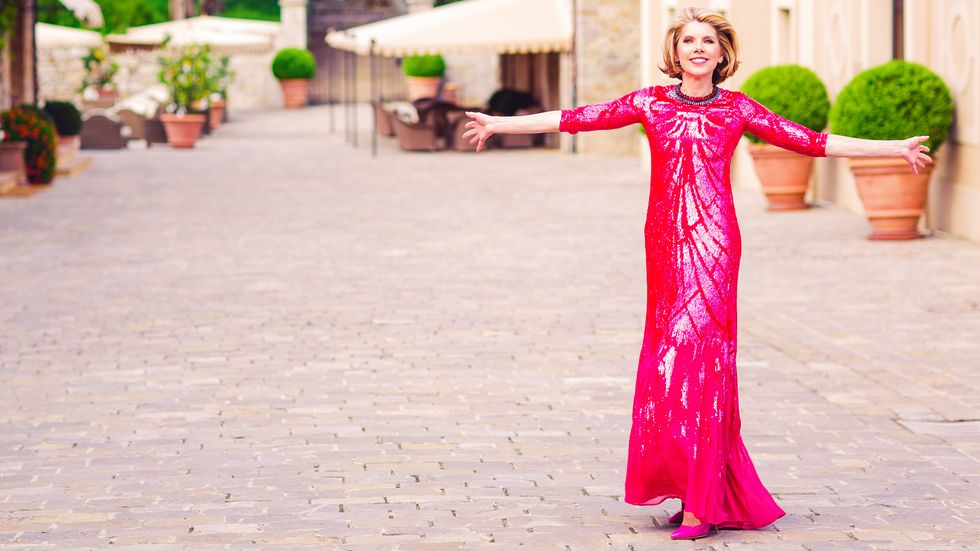 Christine Baransky of The Good Fight in hot pink sequined gown