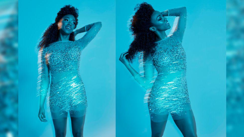 Sonequa Martin Green of Star Trek Discovery in sheer beaded dress