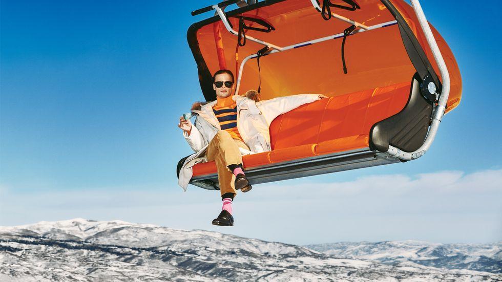 Matthew Gray Gubler of Criminal Minds on a ski lift