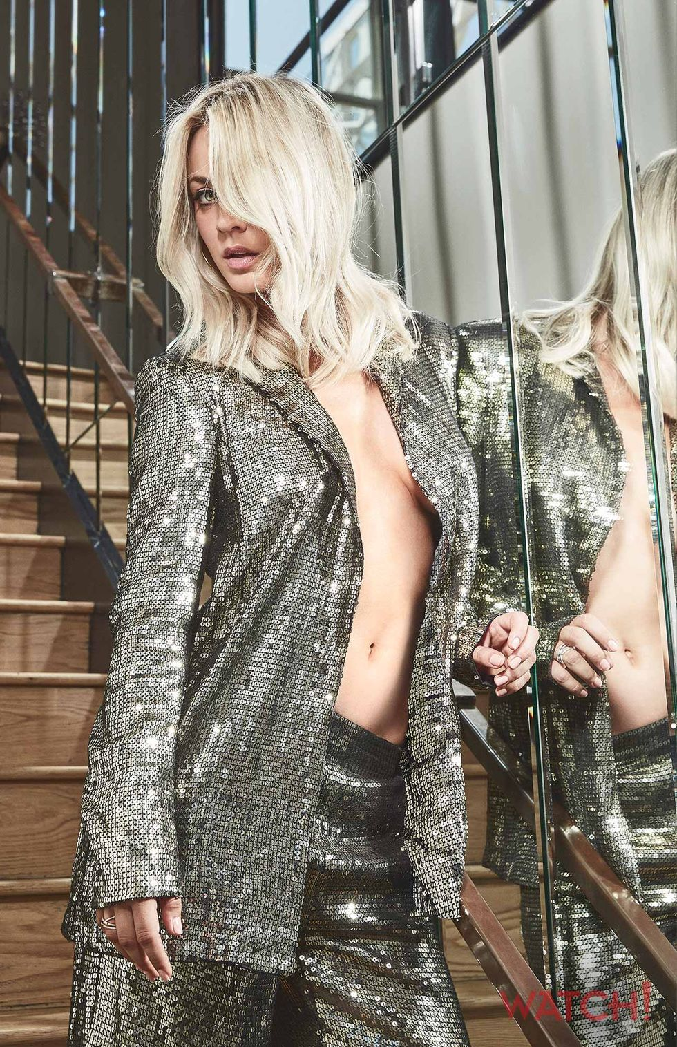Kaley Cuoco in sparkly silver outfit
