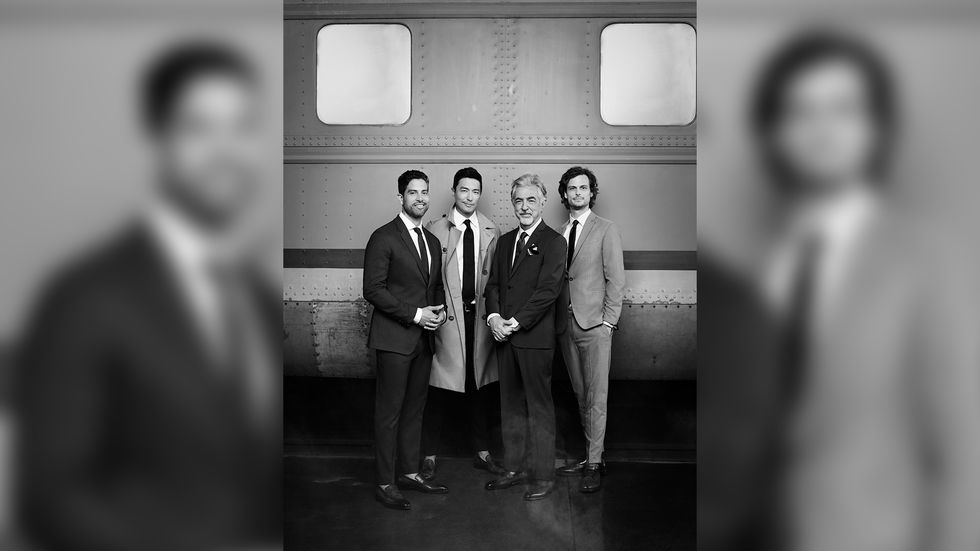 Adam Rodriguez Daniel Henney Joe Mantegna and Matthew Gray Gubler standing in front of a train