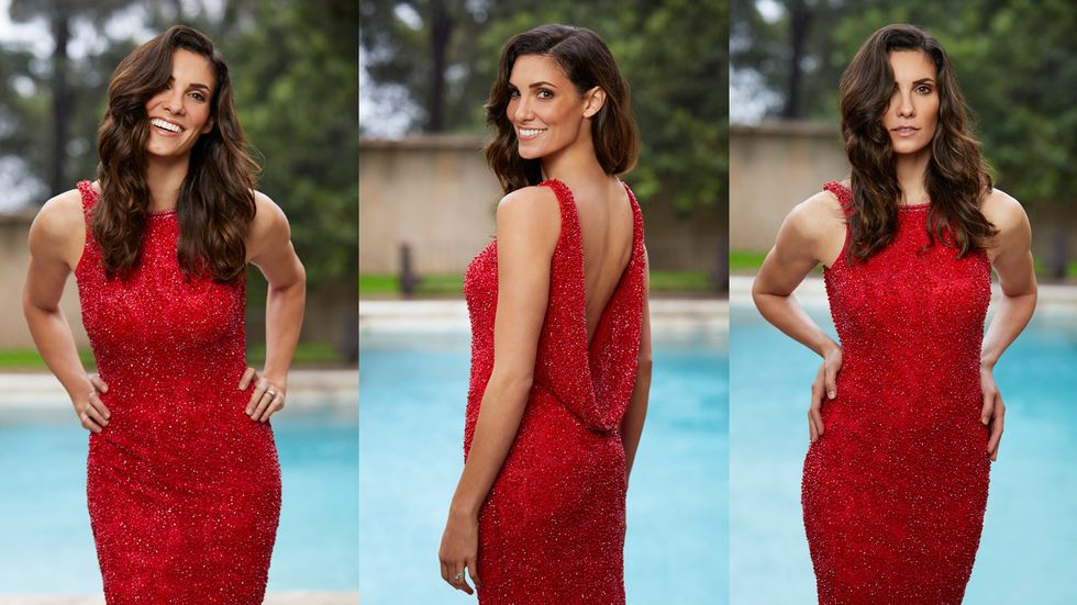 Three different angles of Daniela Ruah in a sleeveless red dress with a plunging back as she stands by a pool