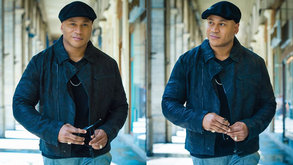 Two images side by side of LL COOL J smirking in a denim outfit